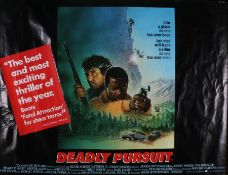 Deadly Pursuit (1988) - British Quad film poster, starring Sidney Poitier, Tom Berenger and Clancy