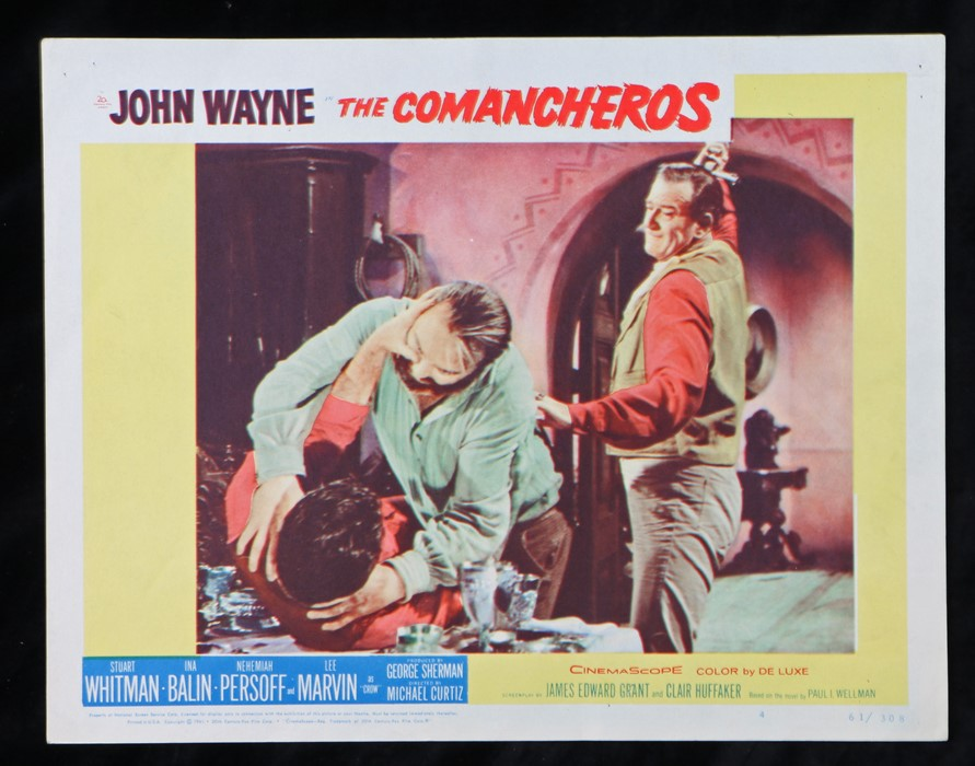 The Comancheros (1961) - American lobby card, starring John Wayne, Stuart Whitman, and Ina Balin,