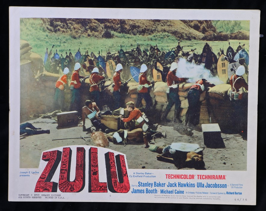 Zulu (1964) - American lobby card, starring Stanley Baker, Jack Hawkins, and Ulla Jacobsson, 28cm
