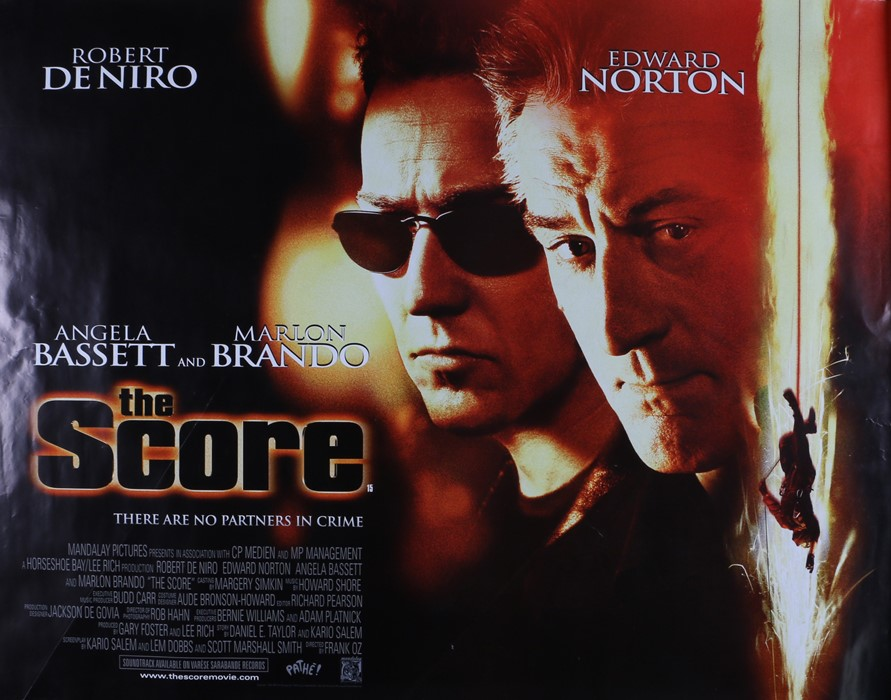 The Score (2001) British Quad film poster, starring Robert De Niro, Edward Norton and Angela