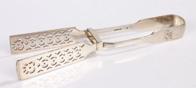 Pair of silver plated asparagus tongs, with pierced blades, the handles initialled JG, 26.5cm long