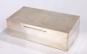 George V silver cigarette box, London 1929, makers marks rubbed, the engine turned lid with