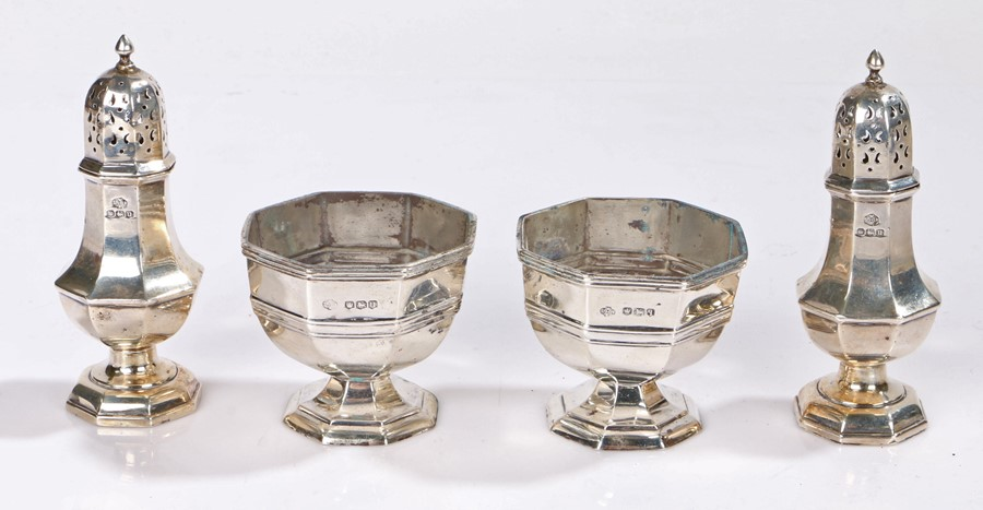 George V and George VI silver condiment set, one salt Sheffield 1933, the other pieces Sheffield