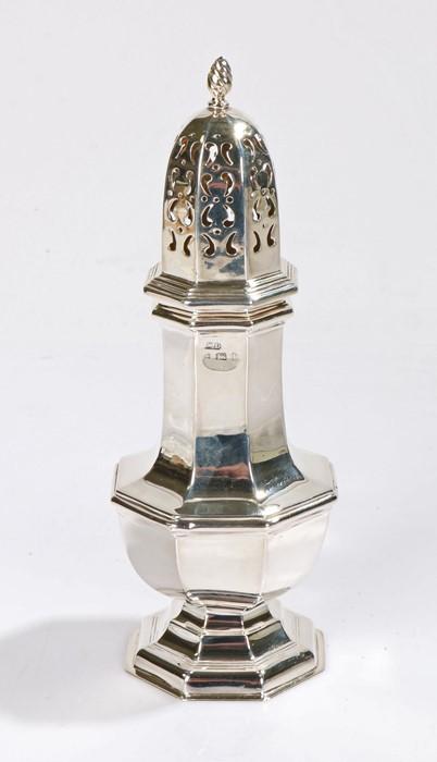 Edward VII silver sugar castor, Birmingham 1903, maker William Devenport, of octagonal baluster