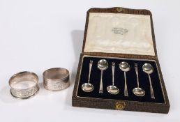 Set of six George V silver teaspoons, Birmingham 1921, maker Hukin & Heath, with folded handle