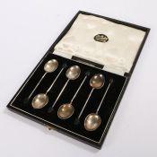 Set of six Elizabeth II silver coffee spoons, Birmingham 1957, maker Barker Brothers Silver Ltd,