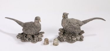 Country Artists filled silver cock and hen pheasants, two silver thimbles (4)