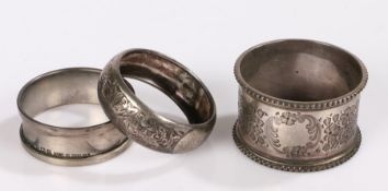 Three silver napkin rings, various dates and makers, 1.5oz (3)