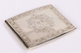 George V silver cigarette case, Birmingham 1929, maker B & W Ltd, with foliate and scroll engraved