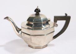 George V silver teapot, Birmingham 1918, maker George Edward & Sons, of octagonal form with ebonised