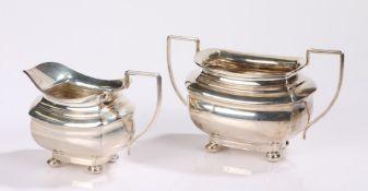 George V silver milk jug and sugar bowl, Birmingham 1931, maker Joseph Gloster Ltd, with waisted