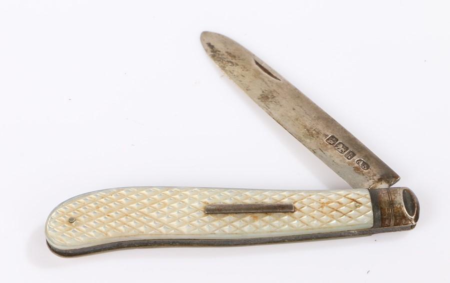 Edward VII silver fruit knife, Sheffield 1902, maker Arthur Worral Staniforth, the folding knife