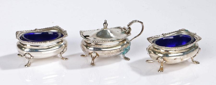 George V silver three piece condiment set. Birmingham 1911, maker E S Barnsley & Co (Edward Souter
