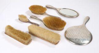 George V silver handled dressing table set, Birmingham 1917/18, maker William Neale & Son Ltd,
