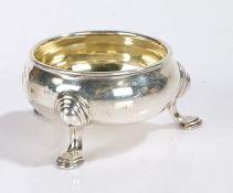 George III silver salt, London 1806, makers marks rubbed, of cauldron form, raised on three