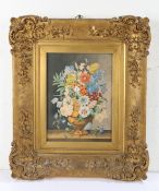 19th Century English School. watercolour still life 'Flowers', unsigned, housed within an ornate