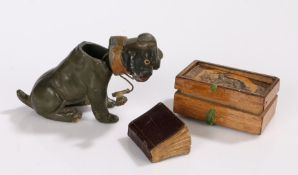 Victorian cast pewter model dog, modelled in a seated position (AF), together with a small Victorian