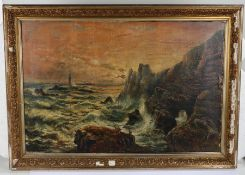 Late 19th Century British School, seascape of stormy seas and rocks, with lighthouse and boats to
