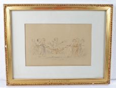 Lady Diana Beauclerk (1734-1808), pencil and watercolour of children and Putti, housed within a gilt