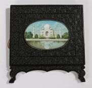 Early 20th Century Indian hand painted miniature on ivory, depicting the Taj Mahal, housed within