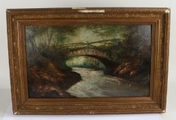 H Church, English School, landscape depicting a bridge over a river, signed to bottom right