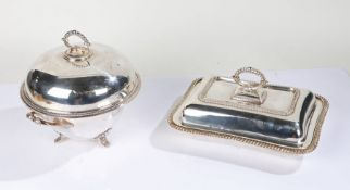 Silver plated entree dish, with detachable handle to the gadrooned cover above a gadrooned