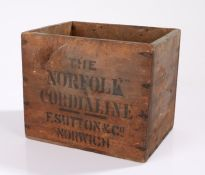 Early 20th Century folk art type pine advertising box, stencilled with 'The Norfolk Cordialine' F.