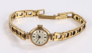 Rotary 9 carat gold ladies wristwatch, the signed cream dial with baton markers, manual wound, on
