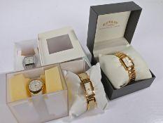 Three Skagen ladies wristwatches, ladies Rotary gilt cased wristwatch (4)