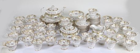Victorian English porcelain tea and coffee service, comprising nineteen coffee cups, eighteen tea