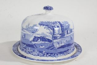 Spode Italian pattern cheese dish and cover, with blue and white transfer decoration