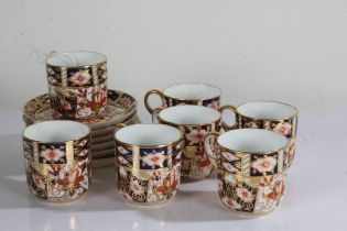 Royal Crown Derby imari pattern coffee service, consisting of seven coffee cups and six saucers (