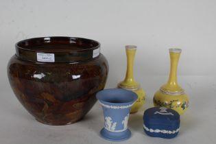 Royal Doulton jardiniere, the exterior with autumnal leaf decoration, Wedgwood blue jasperware vase,