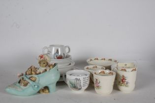 Beatrix Potter interest - Collection of Wedgwood plates, saucers, bowls, and cups, one boxed,