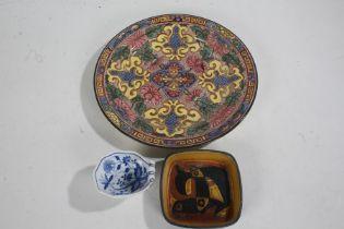 Royal Copenhagen Fajance dish, of square form and stylised decoration, 11cm diameter, together