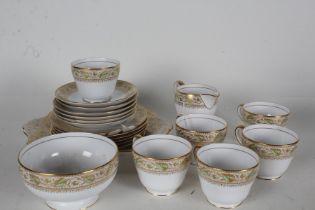 Copeland Spode 'Oaklea' tea set, each having bands of gilt and acorn decoration, comprising six each