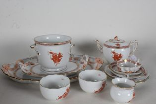 Herend 'Apponyi Iron Red' tea for two service, all with iron red coloured flowers and gilt