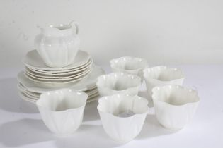 Shelley teaset, in a white glaze, comprising six each cups, saucers and side plates, and matching