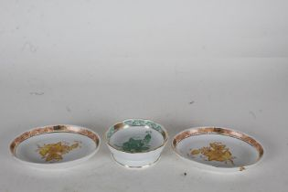 Herend of Hungary small pedestal dish, 8cm diameter, with green and gilt flowers, and two small