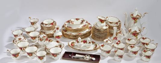 Royal Albert Old Country Roses pattern dinner and tea service, consisting of cups, saucers,