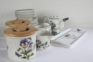 Portmeiron Botanic Garden pattern table pottery, to include two jars with lids, tea pot, plates,