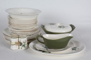 Palissy Shadow Rose pattern dinner service, comprising six dinner plates, six side plates, six