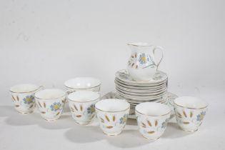 Wedgwood Wheatear part tea set, consisting of six cups, saucers, jug, dishes, bowl (qty)