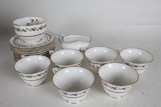 Royal Worcester Bernina pattern tea service, consisting of six teacups, six saucers, five side