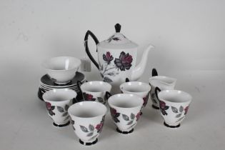 Royal Albert Masquerade pattern coffee service, consisting of six coffee cups and saucers, four side