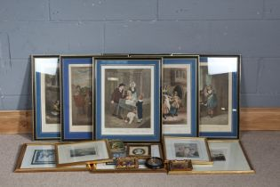 After F. Wheatley (1747-1801), a set of six Cries of London engravings, all housed in glazed frames,