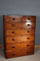 Victorian mahogany chest of two small and five graduated drawers, 107cm wide, 142cm high, and 44cm