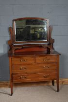 Edwardian mahogany dressing table, the mirror above a rectangular top, two small frieze drawers