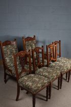 Set of six Edwardian upholstered chairs, consisting of four dining chairs and two open armchairs,