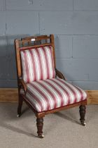 Victorian walnut nursing chair, with inlaid around the edge of the chair, red and white